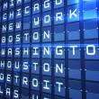 Blue departures board for major usa cities — Stock Photo #48332327