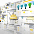Screen collage showing business advertisement — Stockfoto #48332505