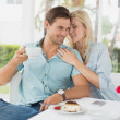Hip couple enjoying coffee — Stock Photo #48332663