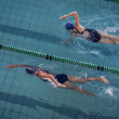 Female swimmers racing in pool — Stock Photo #48332797