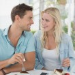Hip couple having desert together — Stock Photo