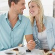 Hip couple having desert and coffee — Stock Photo #48336135