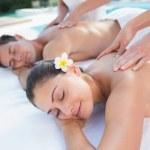 Couple enjoying couples massage — Stock Photo #48336875
