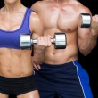 Bodybuilding couple posing with large dumbells — Stock fotografie