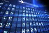Blue departures board for space travel — Stock Photo
