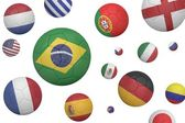 Footballs in various flag colours — Stock Photo
