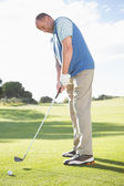 Golfista colocar bola no green — Foto Stock