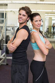 Fit attractive couple smiling — Foto de Stock