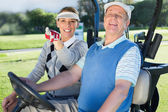 Golfing couple sitting in golf buggy — Stockfoto