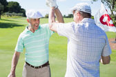 Golfing friends high fiving on the eighteenth hole — Stock Photo