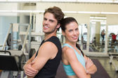 Fit attractive couple smiling — Foto Stock