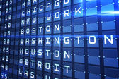 Blue departures board for major usa cities — Stock Photo