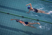 Female swimmers racing in pool — Stockfoto