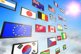 Screen collage showing international flags — Stock Photo
