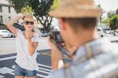 Pretty blonde posing for her boyfriend — Stock Photo