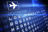 Blue departures board for american cities — Stock Photo