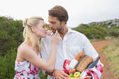Couple going for a picnic about to kiss — Stock Photo