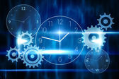 Blue technology design with clock — Stok fotoğraf