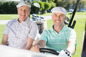 Golfing friends driving in golf buggy — Stock Photo
