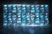 Screen collage showing computing images — Stock Photo