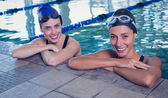 Swimmers in the swimming pool — Foto de Stock
