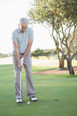 Golfer putting ball on the green — Stock Photo