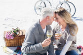 Couple enjoying wine on picnic at the beach — Foto de Stock