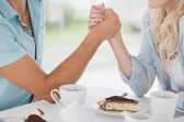 Couple having coffee together in cafe — Stock Photo