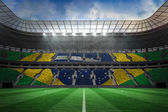 Large football stadium with brasilian fans — Zdjęcie stockowe
