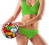 Girl holding flag ball — Stockfoto