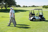 Golfing friends walking beside buggy — Stock Photo