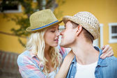 Hip couple about to kiss — Stock Photo
