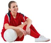 Cute football player with ball — Stock Photo