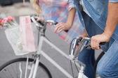 Hip couple on their bikes — Stock Photo