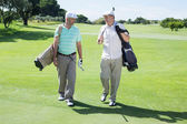 Golfer friends walking and chatting — Stock Photo
