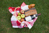 Picnic basket of red wine and bread — Stock Photo