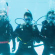 Friends on scuba training submerged in pool — Stock Photo #48340147
