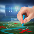 Hand drawing tactics on football pitch — Stock Photo #48340565