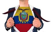 Businessman opening shirt to reveal ecuador flag — Stock Photo