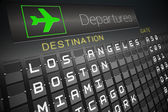 Black departures board for american cities — Stock Photo