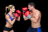 Bodybuilding couple with boxing gloves — Stock Photo