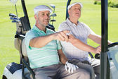 Golfing friends driving in golf buggy — Stock fotografie