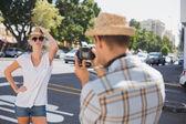 Blonde posing for her boyfriend — Stock Photo