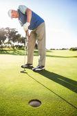 Jogador de golfe no buraco colocando observação verde — Foto Stock