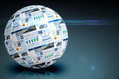 Screen sphere showing business advertisement — Stock Photo