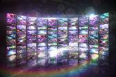 Screen collage showing disco images — 图库照片