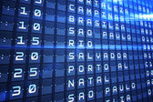 Blue departures board for major south american cities — Stock Photo