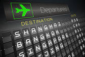 Black departures board for asian cities — Stock Photo