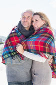 Couple wrapped up in blanket on the beach — Stock Photo