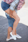 Man giving his girlfriend a piggy back — Stock Photo